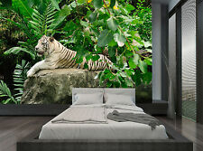 Jungle Green Nature White Tiger Wall Mural Photo Wallpaper GIANT WALL DECOR