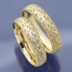 14k Gold Filled White Sapphire Leaf Carving Ring Wedding Women Jewelry Size 10