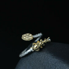 Women'S 925 Silver Branch Gold Beneficial Insect Adjustable Ring Party Jewelry