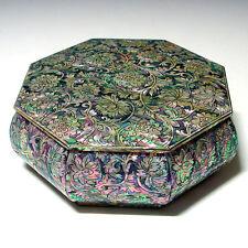 Boîte à Gâteau Artisanale Octogonale Corée Art Floral Bouddhiste Asie Laque