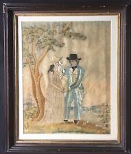 Fine Antique Silk Embroidery Needlework & Watercolor Picture Sailor'S Farewell