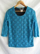 Slinky Brand Knit Sretch Lace Top Turquoise Womens S