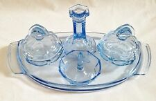 Vintage Blue Glass Dressing Table Set