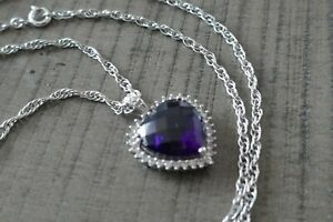 Vintage Designer P.M. Sterling & Cushion Cut Amethyst Necklace - 8.3 Grams