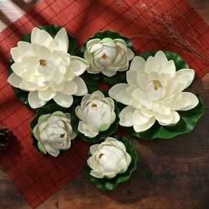 6X Floating Plants Water Lily Artificial-Lotus Flower Leaf Pond Garden Decor UK