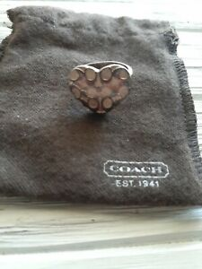 Coach Sterling Silver 925 Heart Ring Designer C Logo Stamped Turkey Size 8