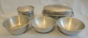 VINTAGE ALUMINUM TOY DISHES - ROASTING PAN, BOWLS AND COOKING POT 1960's-70's