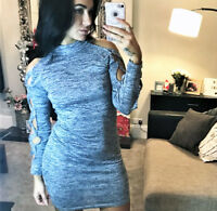 New Grey Bodycon Dress Fitted High Neck Long Sleeve Womens Ladies  Party Club ❤