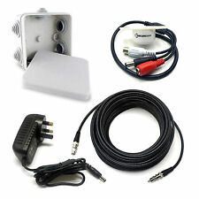 PROFESSIONAL SOUND WATERPROOF MICROPHONE CCTV KIT WITH PSU & 10m PHONO RCA CABLE