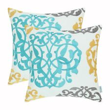 2Pcs Turquoise Gold Gray Pillows Shells Covers Home Florals Embroidered 40x40cm