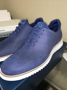 Cole Haan 2 Zerogrand Blue Leather Laser Wingtip size 11.5 M