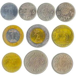 10 DIFFERENT COINS FROM SAUDI ARABIA. HALALAS, RIYALS. OLD CURRENCY: 1960-2016