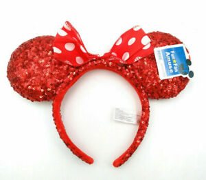 Disney Park Red Party Minnie Mouse Ears Gifts Mickey Bow Sequins Cos Headband