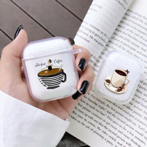 Coffee Printed Protective Case For AirPods 1 2 Soft Transparent Earphones Cover