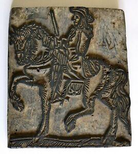 Tampon encreur bois gravé début XVIIe, mousquetaire à cheval, imprimerie gravure