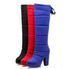 Ladies Platform High Heels Snow Mid Calf Boots Knee High Warm Shoes Boots Casual