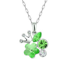 New Fashion Silver Crown Charm Green Crystal Cubic Zirconia Pendant Necklace