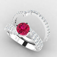 1.50 Ct Natural Diamond Wedding Ruby Ring Set Solid 14K White Gold Size 6 7 8 9