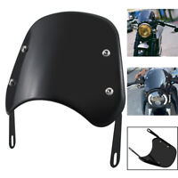 Universal Black  5-7'' Round Headlight Fairing Windshield Windscreen For Honda