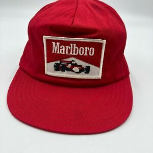Vintage Marlboro Racing Indy Car Patch Hat Cap Red Snap Back Made In USA