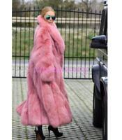 Luxury Womens Full Length Long Fox Fur Luxury thicken warm trench coat Parkas SZ