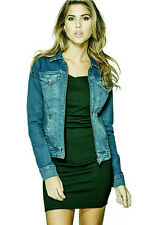 GUESS Denim Jacket in Medium Wash Zip Front Size Small S NWT
