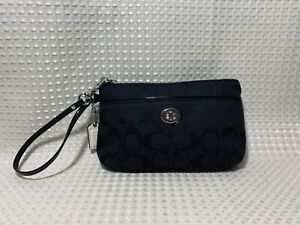 Coach Wristlet Black Signature LOGO Clutch Patent Leather Strap Trim Small