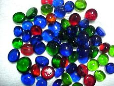 50 PCS BRIGHT MIX FLAT GLASS MARBLES GEMS, VASE FILLERS, MOSAIC TILES $2.99