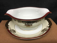 Kongo KON21 Hand Painted Gravy Boat w/Attached Under Plate