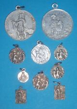 lot of 10 religious catholic charm medals -St Hubert+deer
