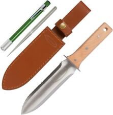 Hori Hori Garden Knife with Diamond Sharpening Rod, Thickest Leather Sheath and