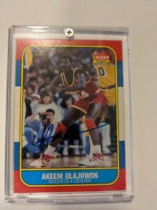 1986 Fleer Akeem Olajuwon RC #109 Signed Auto Autograph 1987 Hakeem Tri Star