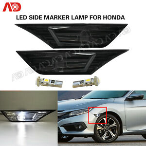 For 2016-2020 Honda Civic Side Marker light Smoked position light W/LED Bulb 2X