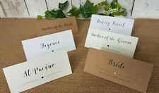 Personalised Wedding Name Place Cards Table numbers script calligraphy diamante