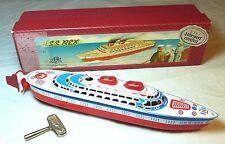 VINTAGE TIN TOY GERMANC1950-60S CLOCKWORK MFZ SPIELWAREN H.S.S REX LINER SHIP