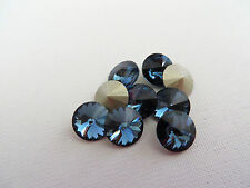12 Denim Blue Foiled Swarovski Crystal Rivoli Stone 1122 39ss 8mm