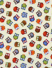 OWLS SMALL  on CREAM COLOR FABRIC by TIMELESS TREASURES 100% COTTON - NEW!!!