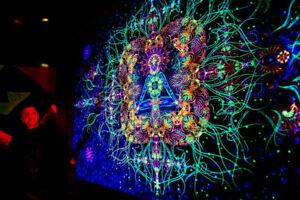 UV backdrop Didley Art Black Light wall hanging PSY GOA Deco Neon Banner