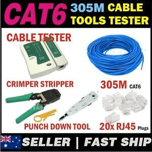 305m Cat 6 Cat6 Network LAN Cable Kit + Crimper Punch Tools Tester 20x RJ45 Plug
