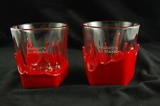Makers Mark Glasses 2 Bourbon Classic Red Wax Dipped 8 oz Clear Collector Glass