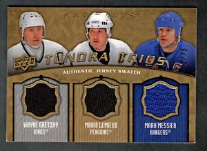 2008-09 UD Artifacts Triple Jersey Wayne Gretzky,Mario Lemieux,Mark Messier #/75