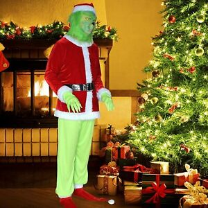 The Grinch Santa Hat Christmas Mask and Gloves Costume Fancy Dress Outfit Set