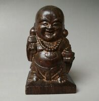 China buddhism Rosewood wood hand-Carved Wealth Lucky Maitreya Buddha Statue