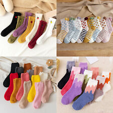 Women Embroidery Sleep Socks Coral fleece Socks Winter Floor Socks Warmer 1 Pair