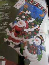 Bucilla Tree Shopping Felt Stocking Kit #86182 Christmas Santa Snowman