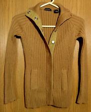 MODA INTERNATIONAL Victoria Secret Cardigan Sweater XS Camel Brown SNAPUP LongSl