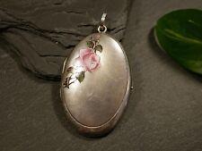 Tolles Silber Anhänger Foto Medaillon Floral Rose Jugendstil Art Deco Email
