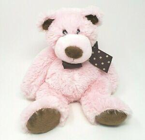 "12"" MARY MEYER BABY PINK & BROWN TEDDY BEAR STUFFED ANIMAL PLUSH TOY W/ BOW"