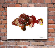Cod Fish Abstract Watercolor Painting Art Print by Artist DJ Rogers