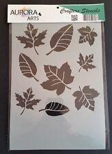 Stencil by Aurora Arts A4 Leaves 190mic Mylar craft stencil 033